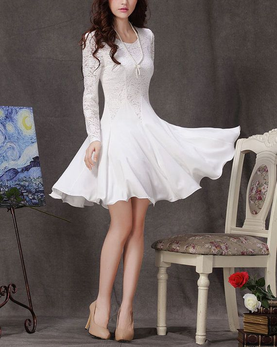 Long Sleeved White Lace Chiffon Dress / Little White Dress / White Fit and Flare Dress on Etsy, $54.99
