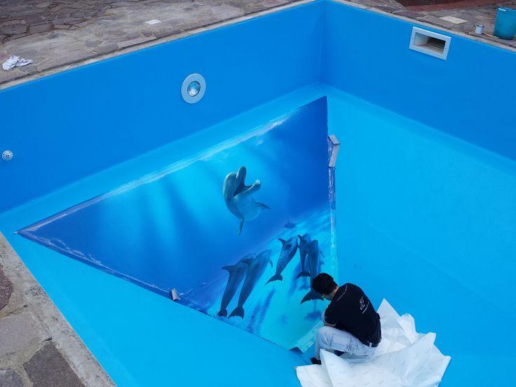 decorazione con adesivi per fondo piscina http://www.santorografica.com/wrapping.php #decorazione #adesivi #fondo #piscina #santorografica #solodasantorografica #salerno