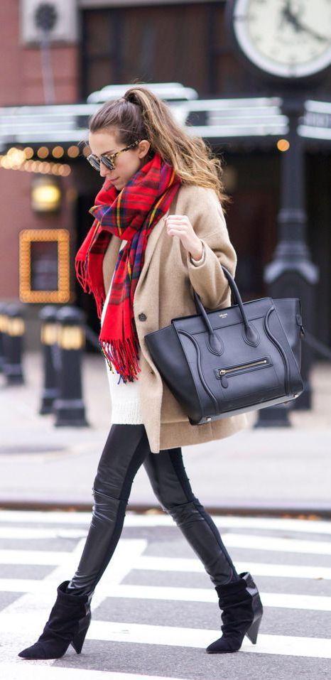 #winter #fashion / camel knit coat + red tartan scarf