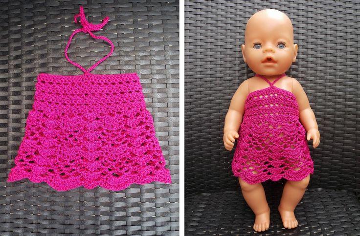Jurkje voor Baby Born pop (met link naar gratis patroon) / dress for Baby Born doll (with link to free pattern)