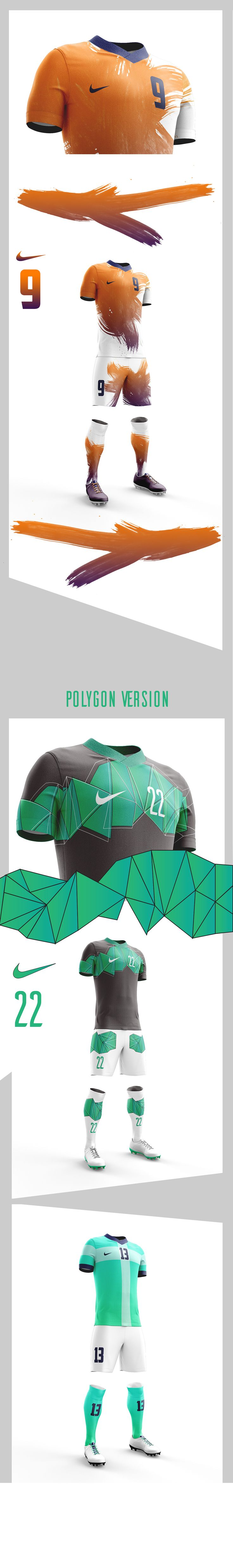 Some designs of a football tenue, i like the polygon one te most.
