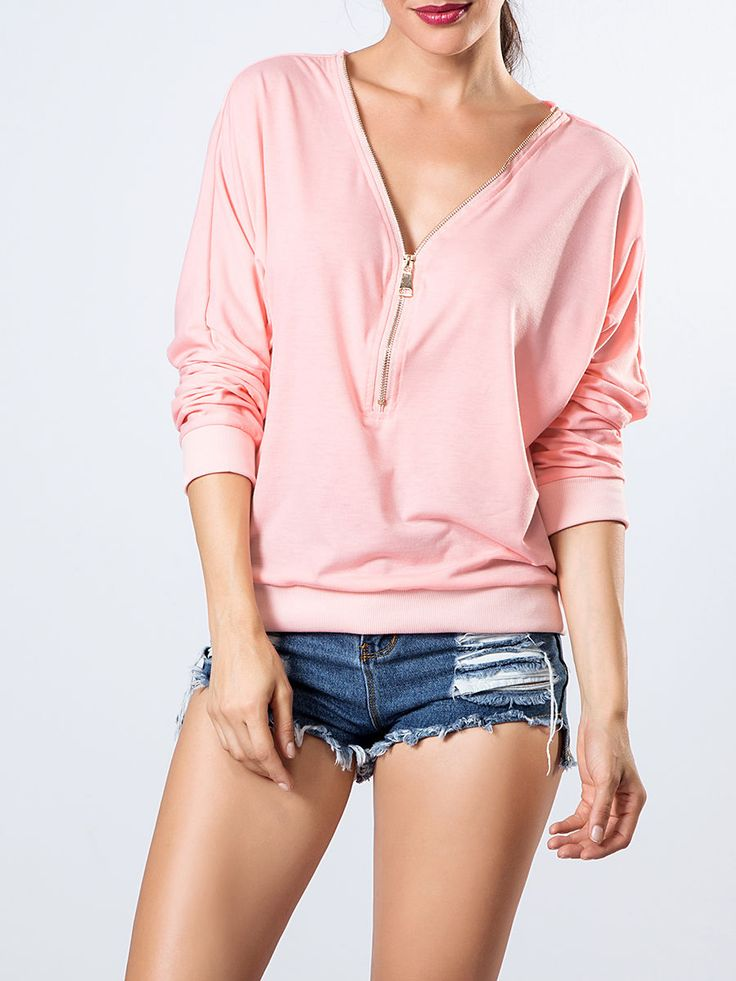 V Neck Zips Plain Sweatshirt Only $14.95 USD More info...