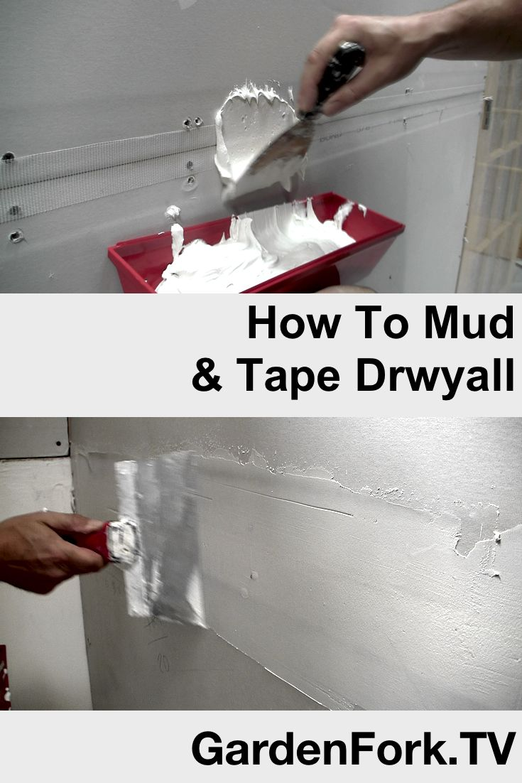 DIY Video of how to mud and tape drywall - sheetrock . Watch here: http://www.gardenfork.tv/how-to-mud-and-tape-drywall-gf-diy-video Mudding and Taping take some practice, but if I can do it, you can do it. Here we tape and mud a wall we built during our renovation.
