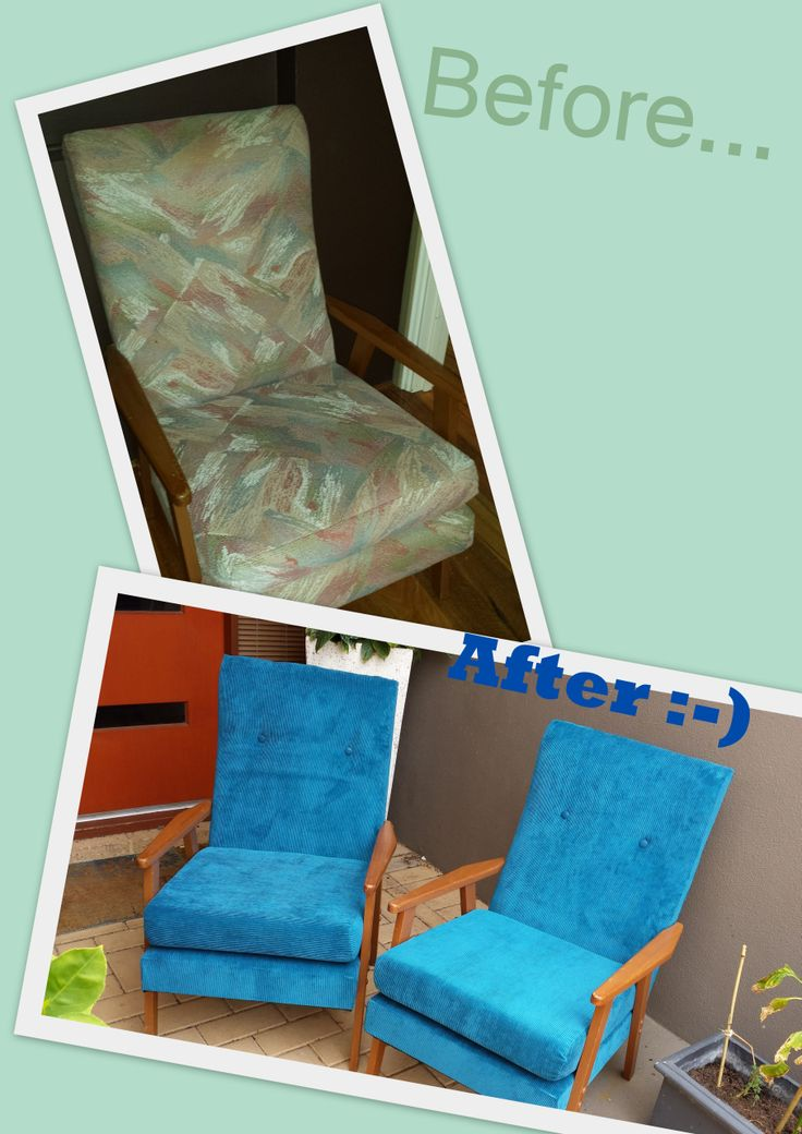 From drudgy, old chairs (with 2 fabrics underneath, a lazy upholsterer indeed), to fresh, blue corduroy vintage chairs.