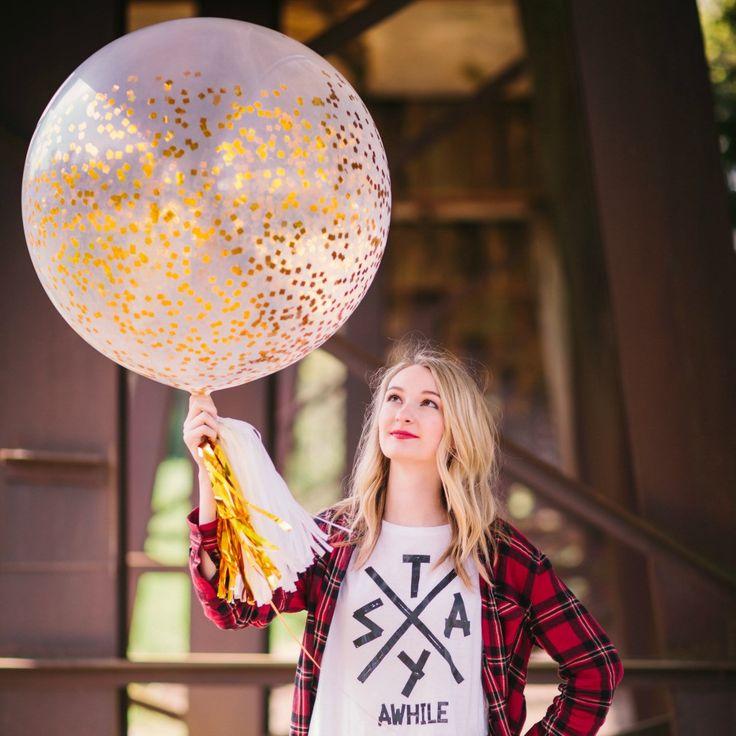 Gold Confetti Balloon Filled Metallic Square Cut Confetti, 36 in. Jumbo