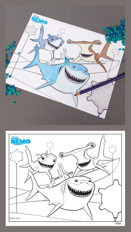 Finding Nemo Shark Coloring Page