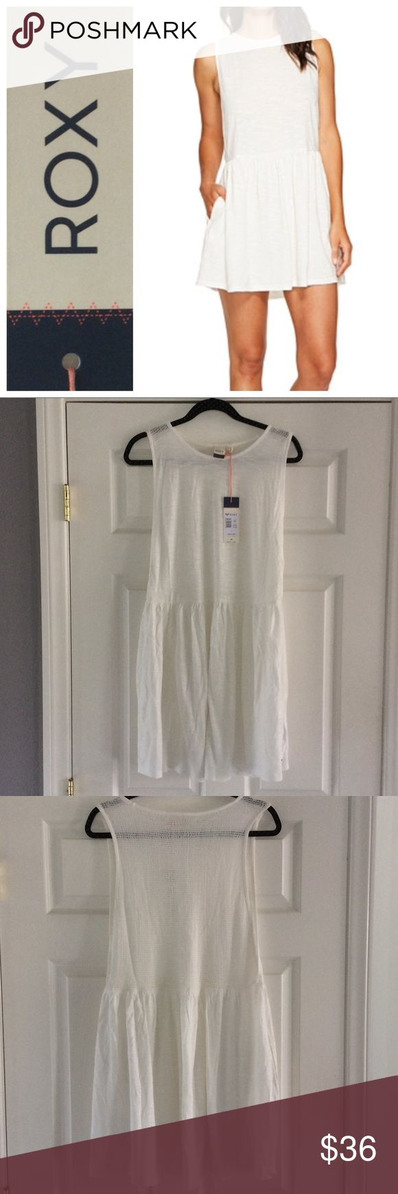 Roxy beach dress Roxy one of these nights white beach dress, size large.  Semi sheer 100% cotton with open netting back and deep arm holes.  So cute over a bikini!  NWT. Model pics from Pinterest to show fit. Roxy Dresses