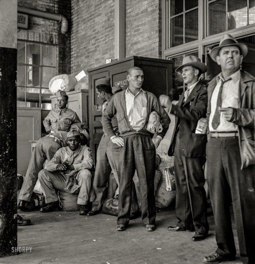 Waiting for a Greyhound bus at the Memphis station, 1943. http://www.shorpy.com/node/21424 Esther Bubley