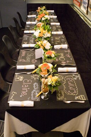 Our chalkboard inspired placemats! Styling by Kim Tay, Wedding Concierge Singapore, for Extraordinary Weddings. View our Old School Wedding Theme on facebook.com/weddingconcierge