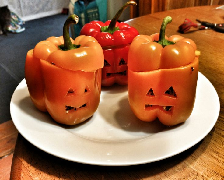 Stuffed quinoa jack o lanterns!