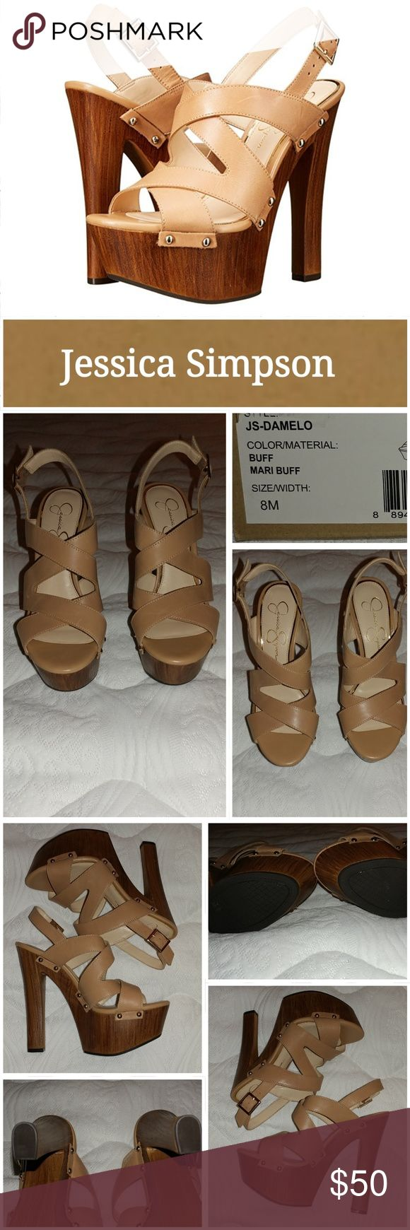 NIB Jessica Simpson Sandals! Get on the 70's inspired fashion train in the Damelo. This jaw dropping sandal is made with nude thick straps and back adjusting buckle. Studs connect the upper to the faux wood covered 6 inch block heel and 2 inch platform.  Excellent condition.  Never worn other than to try on in store.  Smoke free home. LOC CL2 Jessica Simpson Shoes Sandals