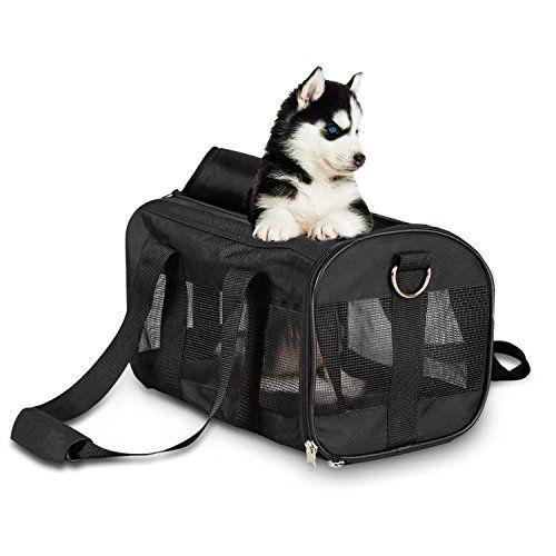 Poppypet Transporttasche f�r Haustiere Tragbar Transportbox f�r Hund Katze & Kleintier Rei�festem Nylon Faltbare Hundetransportbox Schwarz