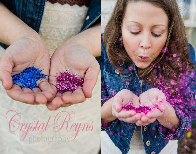 Gender announcement, pink, blue, glitter, gender reveal.        Crystal Reyns Photography: It's a GIRL!!! l Louisa, Va Portrait Photographer