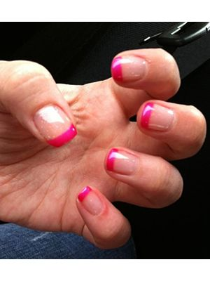tiny clear sparkles with hot pink french manicure tips