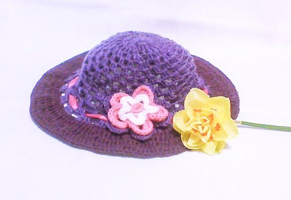 Purple Crochet Summer Hat Womens Hat Sun Hat Sun by HandmadeTrend, $26.00