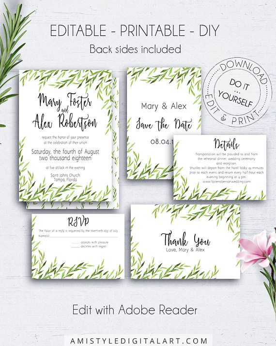 Greenery Wedding Invitation Suite with nice and unique minimalist watercolor greenery elements.This wedding invitation set is for an instant download EDITABLE PDF pack so you can download it right away, DIY edit and print it at home or at your local copy shop by Amistyle Digital Art on Etsy