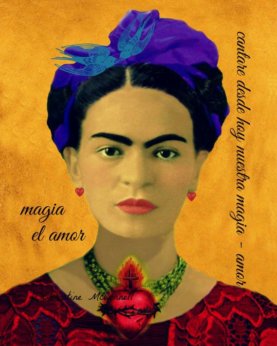 Frida Kahlo Amore Love Sacred Heart Mixed Media by ARTDECADENCE