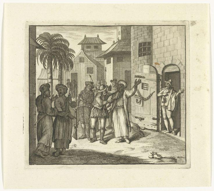Reynier Blokhuysen | Man met tulband op het hoofd wordt de gevangenis binnengebracht, Reynier Blokhuysen, 1673 - 1744 |