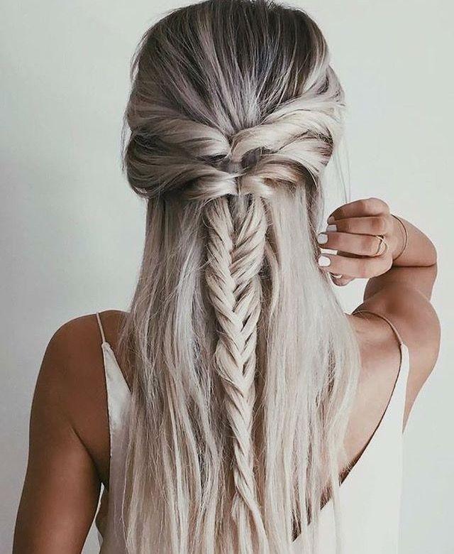 Fishtail braid, half up, second day hair @loessadams Instagram photo