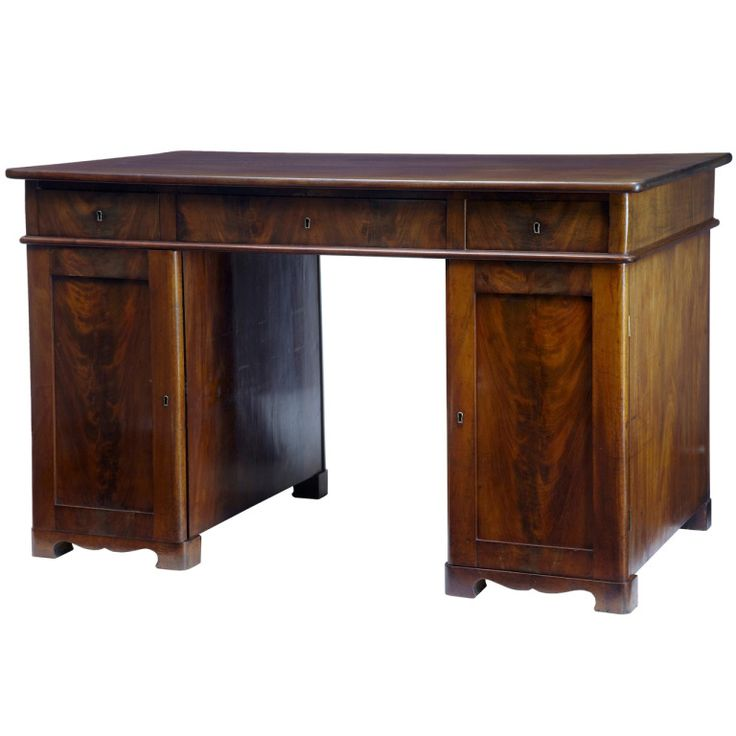 19th Century Mahogany Pedestal Kneehole Desk | From a unique collection of antique and modern desks and writing tables at https://www.1stdibs.com/furniture/tables/desks-writing-tables/