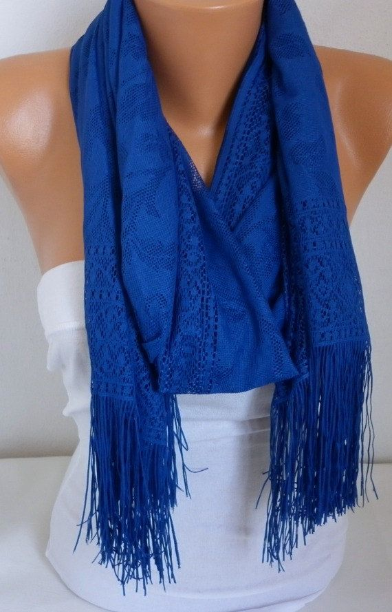 Royal Blue Tulle  Shawl Scarf   Cowl  Bridesmaid gift by fatwoman