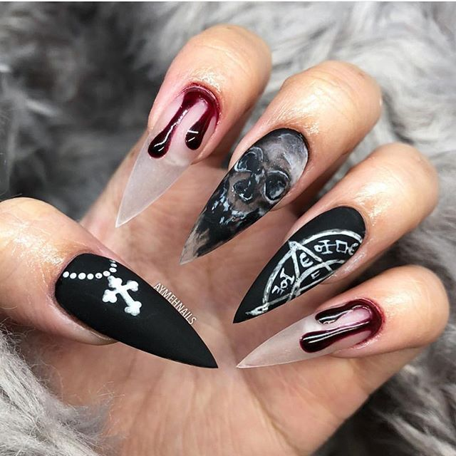 59 Cute Fall Nails Which Work For Every Age With Images Halloween Nails Halloween Nail Designs Simple Toe Nails