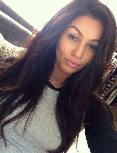 long dark hair and natural makeup
