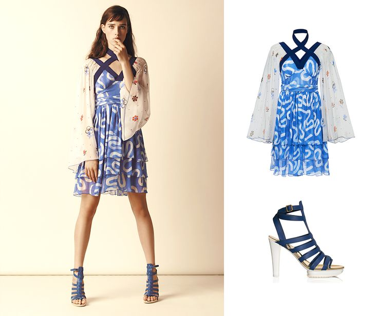 Romantic elegance. #HOGAN printed dress and Gladiator sandals. Check out the look.