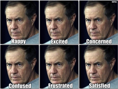 A Fan's Guide To Recognizing The Many Moods Of Bill Belichick.....love it, best Coach evr!!!