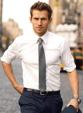 Men's White Dress Shirt, Navy Dress Pants, Grey Tie, Black Leather Belt