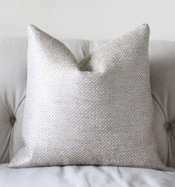 Designer Metallic Pillow Cover - Silver Neutral Pillow - Graphic Pillow Cover - Ivory Grey  Pillow Cover
