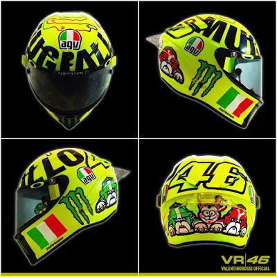Pembalap Yamaha, Valentino Rossi (The Doctor), perkenalkan helm khusus di sirkuit Mugello, Italia...
