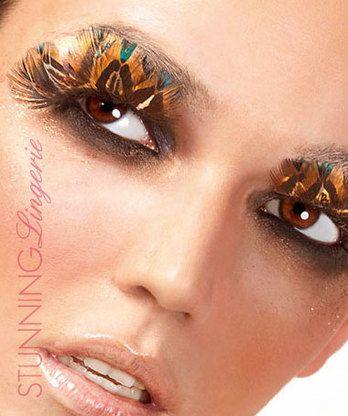 Baci Lingerie Black-Brown Feather Eyelashes