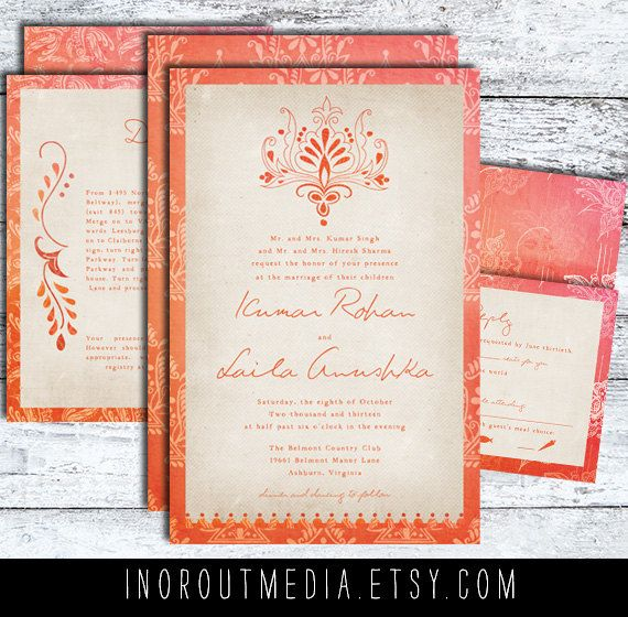 Indian Wedding Invitations  Rustic pink orange by inoroutmedia, $65.00