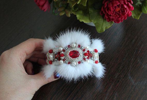 White Mink with red Swarovski Crystal ELEMENTS by FeltSilkArtGift