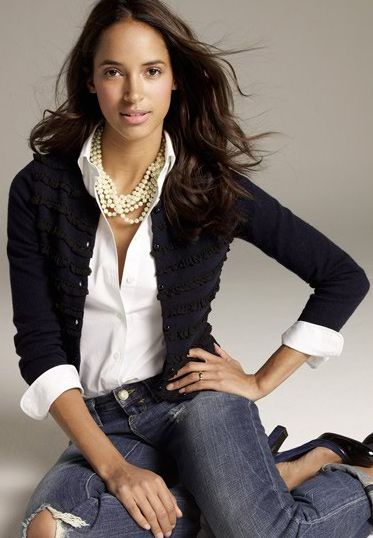 timeless...jeans + cardigan + pearls: Casual Friday, Fashion, Style, White Shirts, Pearls, Outfit, Black Cardigan, Jeans