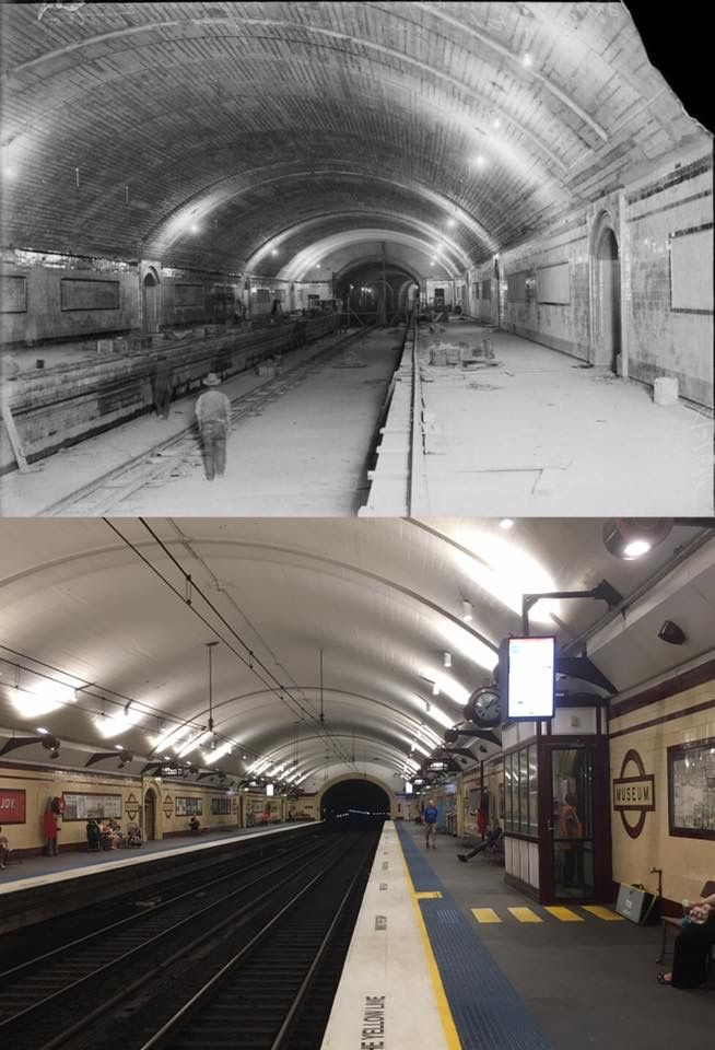 Looking north along Museum Train Station, Sydney under construction in 1922 > 2017. [National Library of Australia > Phil Harvey. By Phil Harvey]