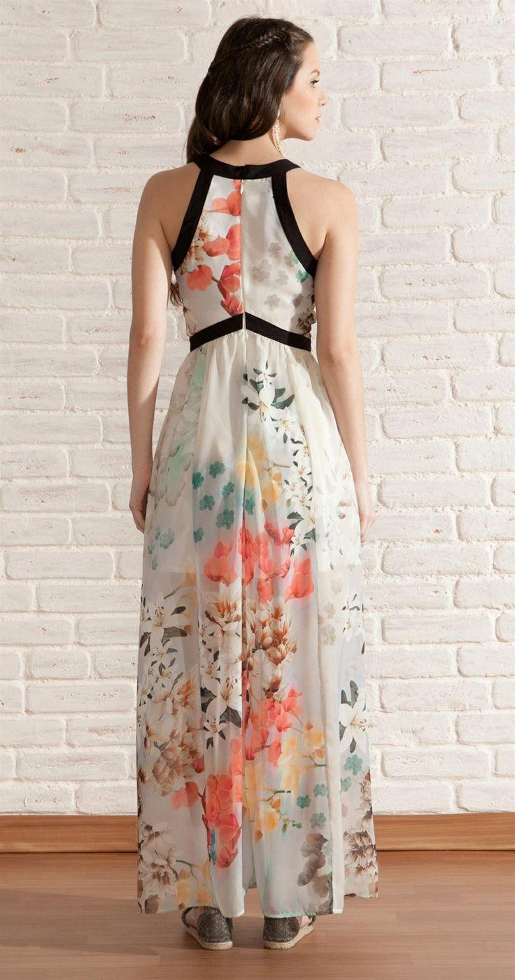 Vestido Longo Chifon Floral | Lookbook | Antix Store