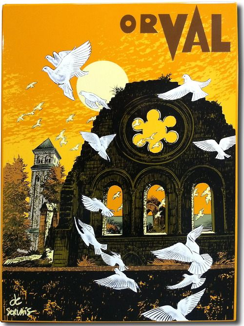 Vintage Travel Poster - Orval - The Belgian Ardennes - Belgium.