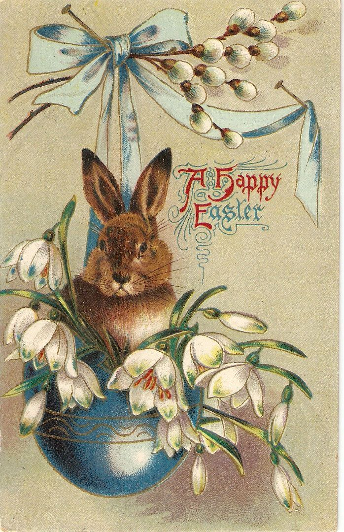 Reserved for Tricia Happy Easter Rabbit among flowers, vintage American Easter…