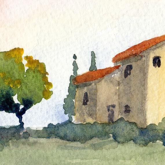 Italian Watercolor Landscape Tuscan Spring Ii Fine Art Print