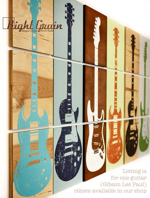 Ideia DIY para decoração de estúdio musical e afins - This would be awesome in Tyler's room Custom Guitar Art  Rock and Roll Artwork  Original by RightGrain, $75.00