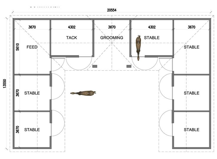 U shaped 6 stall horse barn except i would put the tack for Horse barn layouts floor plans