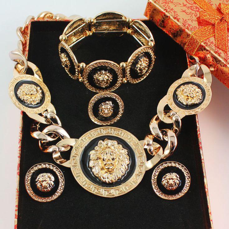 New Vintage Black Enamel Lion Head Myth Medusa Pendant Necklace Earrings Bangle Ring Fashion Party Jewelry Set 2 Colors