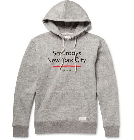 Ditch Standard Underline Printed Loopback Cotton-Jersey Hoodie by Saturdays NYC