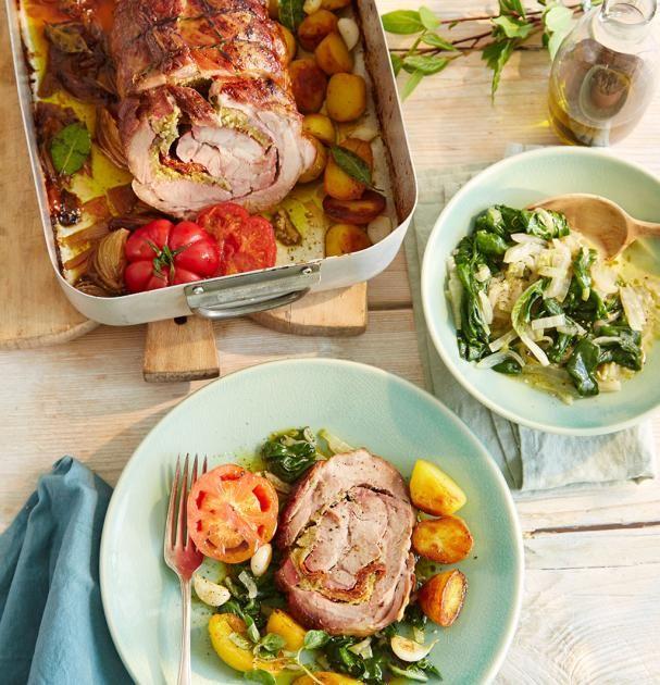 Schweinerollbraten mit Basilikumfüllung - Italienisch für Gäste - [ESSEN UND TRINKEN]