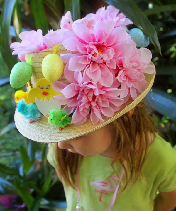 Easter Bunny Ears Plate Hat. Use two simple tools to get this cute plate hat. All you need is a pair of scissors and a paper plate. Fold the plate in half and then you can draw the bunny ear to decide make your hat decoration. After cutting the holes, you can paint the ears pink.