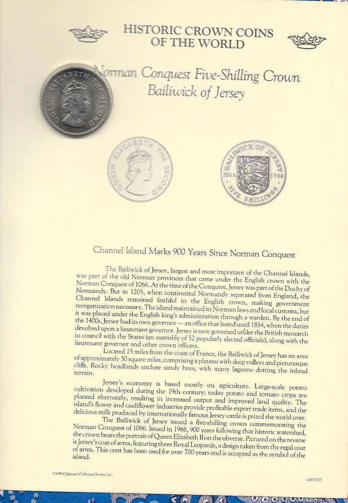 5 Shillings. Battle of Hastings - Norman Conquest. The Historic Crown Coins. Page may have corner tip issues. Baliwick of Jersey. of the World. Selected by Calhoun's Collectors Society's International Panel of Professional Numismatic Experts 1980. | eBay!