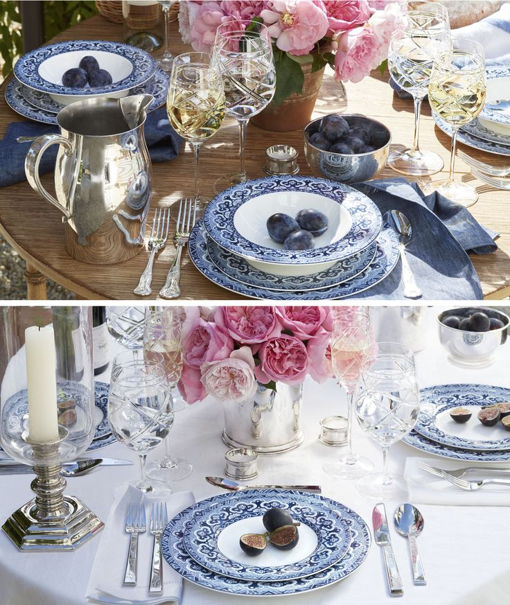 One pattern, two ways. Casual or formal, Empress blue and white tabletop from Ralph Lauren Home is elegant in any setting