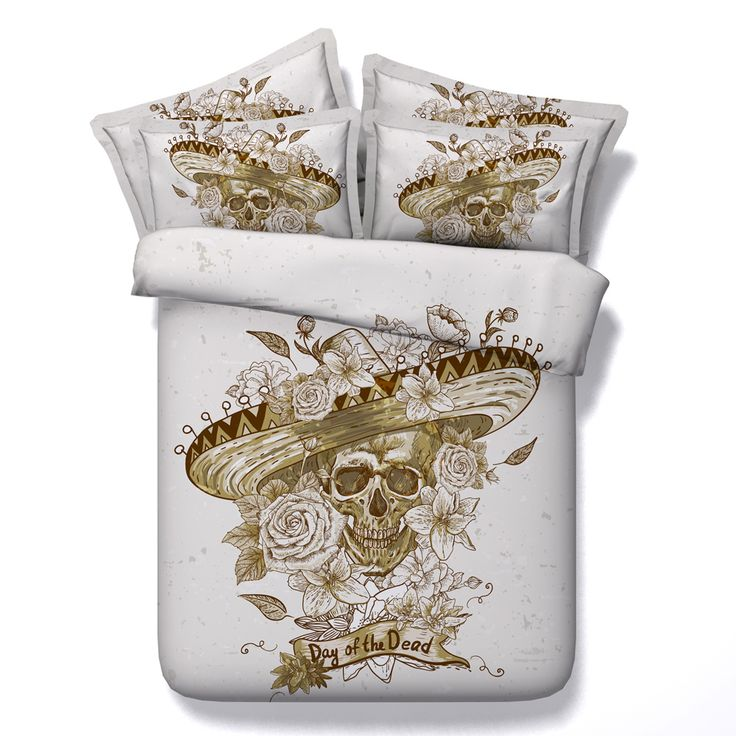 Find More Bedding Sets Information about 2017 New Hot Sale People Noble Skull With Wide brimmed Hat Print 4 piecs Bedding Sets Size Duvet Cover Bedspreads Sheets Sugar ,High Quality duvet cover,China duvet cover sales Suppliers, Cheap duvet sales from Fashion Bedding Store on Aliexpress.com